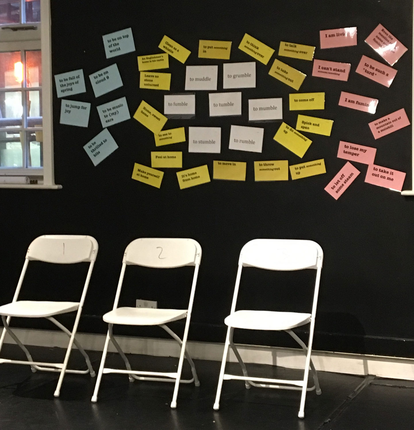 Chairs ready for a grammar game for practising the 3 future tenses in English